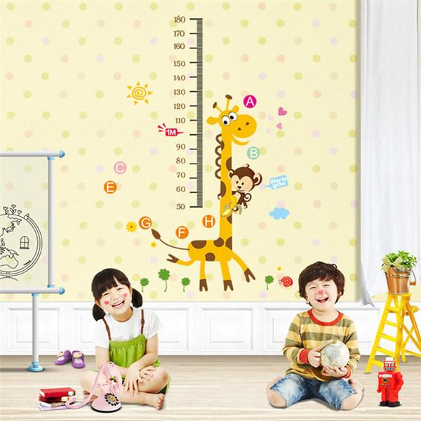 Crianças Altura Gráfico Adesivo De Parede Decoração Dos Desenhos Animados Girafa Altura Governante Adesivos De Parede Decoração Da Sala de Home Wall Art Sticker Poster Atacado