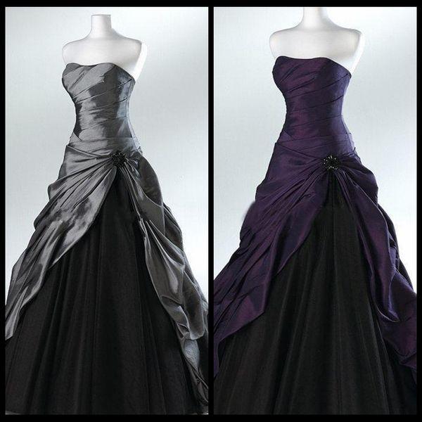 Pourpre et noir robe de bal robes de mariée gothiques pour les mariées sans bretelles rez-de-chaussée gris longueur réelle photo robes de mariée robes de mariée