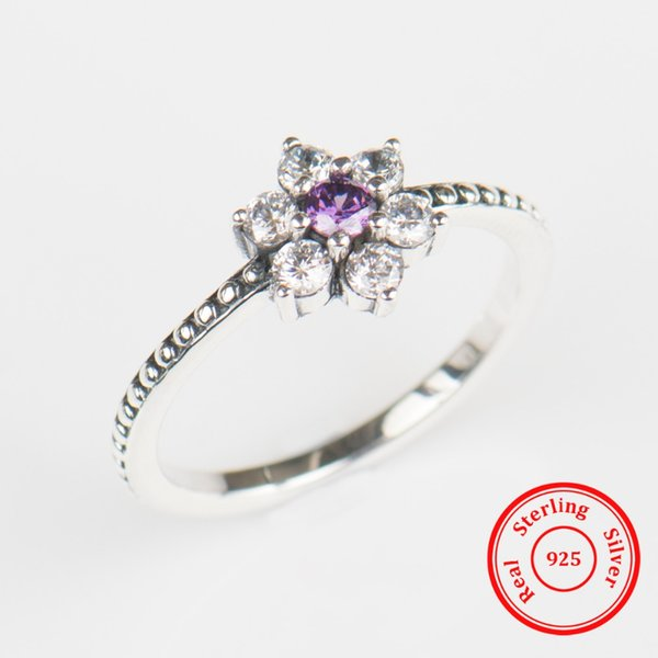 Wholesale- Modian 100% Real 925 Sterling silver Purple Crystal flowers Ring Classic Beautiful Finger Rings Engagement Fashion Jewelry