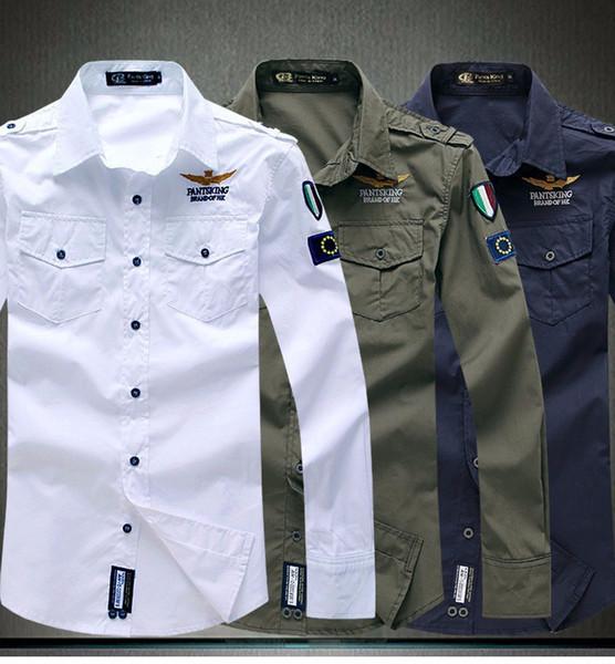 Hava kuvvetleri erkekler uzun kollu gömlek casual adam elbise gömlek 4 renk M L XL XXL 3XL Sıcak satış ücretsiz kargo