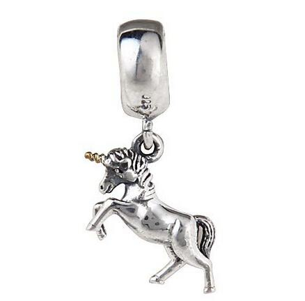 UNICORN DANGLE CHARM DIY Beads Real Solid 925 Sterling Silver Not Plated Fits Original Pandora Bracelets & Bangles & Necklaces