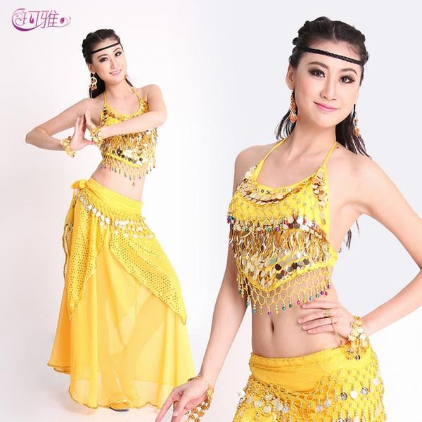2019 New Indian Belly Dance Costumes Performance Robe pailletée Stage Porter jupe Chaînes de taille 3 pièces Costume de A0326