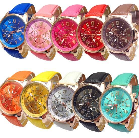 top popular 2015 New fashion Rose Gold Women Dress Watches Luxury bracelet Geneva Roman Numerals Faux Leather Analog Quartz Wrist Watches Steel Watches 2019