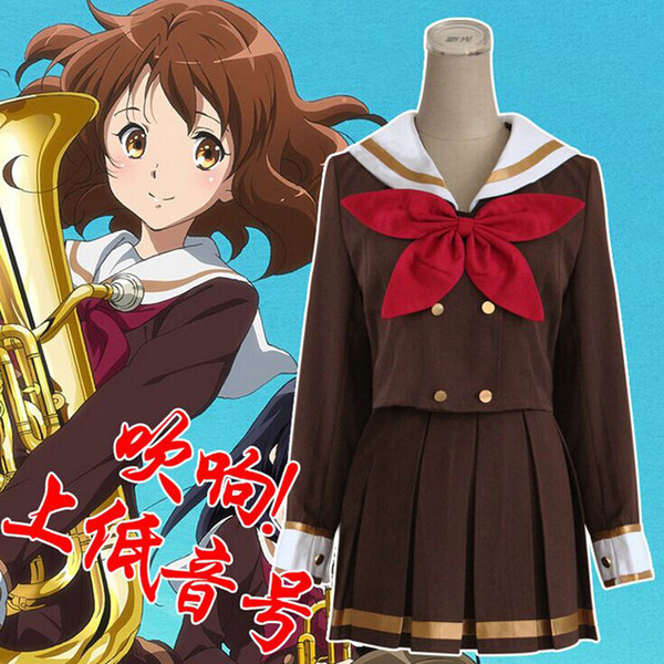 Cartoon Hibike Euphonium Oumae Kumiko Girl S School Uniform Cosplay Costume Summer Style Casual Sailor Suitdress Red Green Bow Tie Anime Character