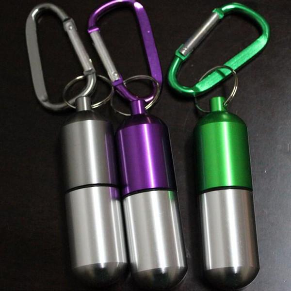 Portable Mini Aluminum Pill Case Medicine Box Holder Container Outdoor Keychain Waterproof Free Shipping Wholesale ZA5302