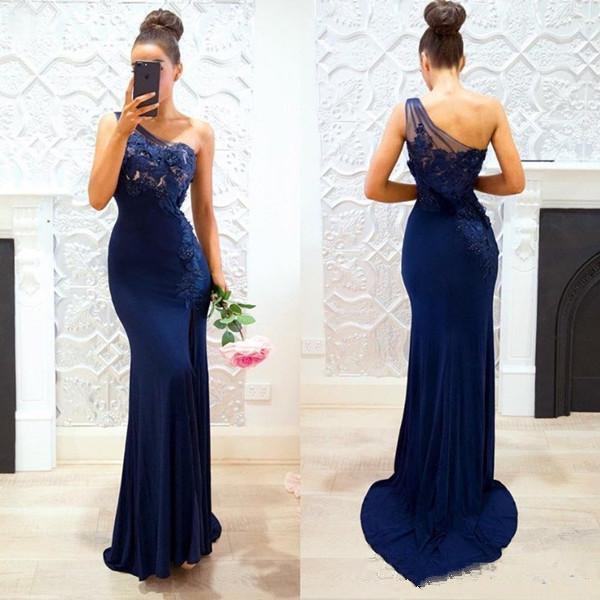 2018 nova marinha azul de um ombro sereia de cetim longo vestidos de dama de honra rendas applique dividir o comprimento do assoalho party prom dressses