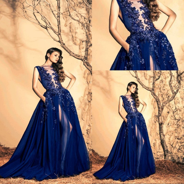 Stunning Royal Blue Ziad Nakad Evening Dresses 2018 Sheer Neck Chiffon Sweep Train Sequins Flower Backless Evening Gowns Formal Dresses