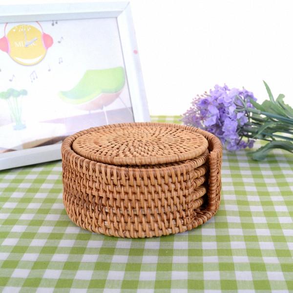 Bamboo Coaster Serving Mat Set-6x Round Tea Rattan Insulation Mat-M 8cm W/ Frame Drop Shipping