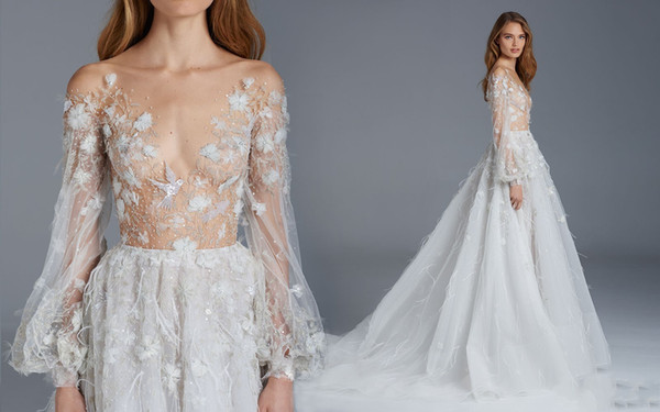 Paolo Sebastian Celerity Dresses Low Cut Neckline A Line Tulle Floor Length Long Formal Dress Handmade Flower Bird Pattern Prom Dresses