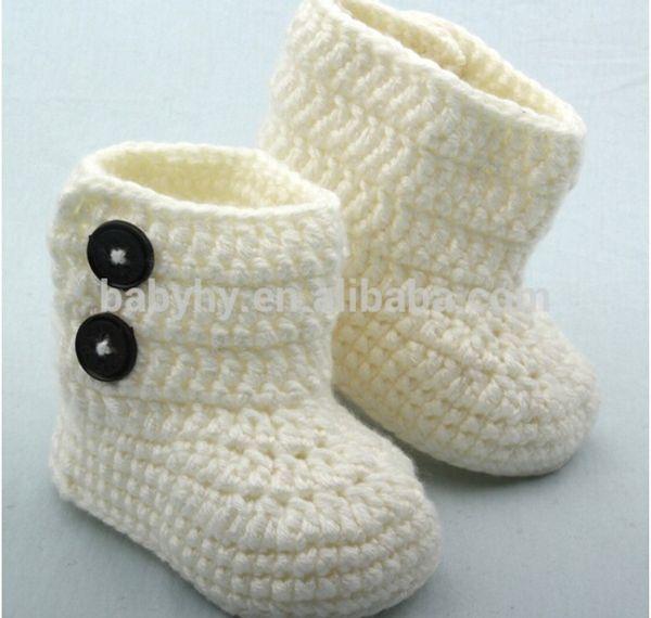 2015 cute baby purple shoes Handmade Crochet white baby Cool short boots Retail Baby snow boot handknit crochet cotton 0-12M yarn