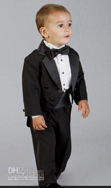 2016 Boy's Formal Wear Fashion new Baby Boys Black Tuxedo Dinner Suit Boy wedding suits Boy Tuxedo(Jacket+Pants+Tie+Girdle)