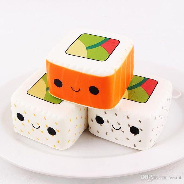 Nuovo arrivo jumbo squishy quadrato sushi kawai kwaill sushi a lenta crescita dolce profumo profumato charms pane torta bambino giocattolo bambola con confezione al dettaglio