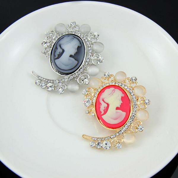 Vintage Stylish Hot Sale Pretty Yong Girl Head Cameo Brooch Top Quality Opal Crystal Broach B890 Elegant Women Scarf Pins Drop Shipping!!