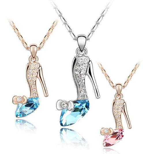 2015 cinderella neckless glass shoes pendant gold and silver crystal neckless chain