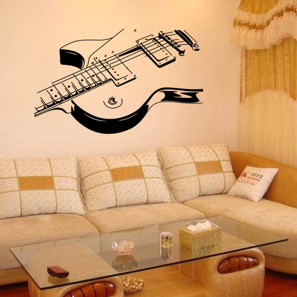 Art Electric Guitar Wall Stickers DIY Home Decorations Music Wall Decals  Living Room Removable Musical Instrument