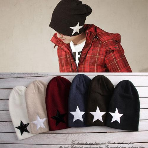 Hot Sale New Autumn winter Unisex hats five-pointed star wool knit hip-hop hat cap beanies for men women Lovers free shipping