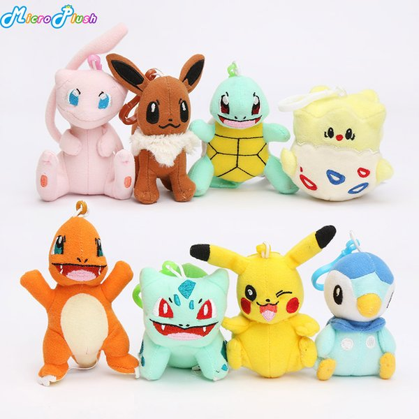 8pcs/lot pikachu doll toy bulbasaur piplup charmander eevee mew squirtle plush stuffed pendant toy with hook