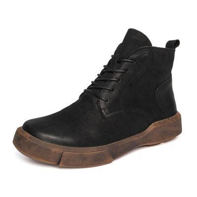 Guogen venta al por mayor envío de la gota de cuero de invierno cálido de las mujeres con cordones martin botas vintage marrón café botines de cuero tobillo size35-40