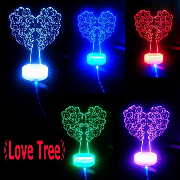 Love Tree Style 3D USB Desktop Lamp Indoor Night Light Red Green Blue Best Chirstma Gift for your children friend With LED Light