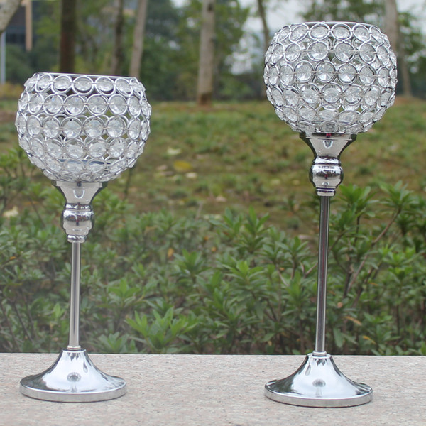 best selling Free shiping metal silver plated candle holder with crystals. wedding candelabra centerpiece decoration,1 set=2 pcs candlestick