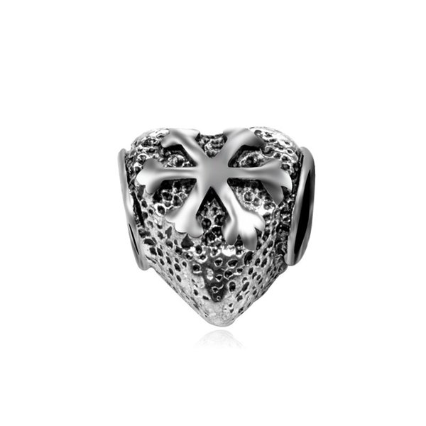 Heart Shape Snowflake Within Alloy Charm Bead Fashion Women Jewelry Stunning Design European Style For DIY Bracelet Necklace
