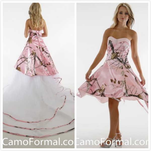 Knee Length Pink Realtree Wedding Dresses Lace up Camo Bridal Dresses 2016 Crystal Wedding Gowns with Tiers Tulle Detachable Court Train