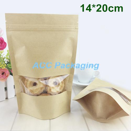 5,5 '' x 7,9 '' (14x20 cm) Kraft Paper W / Clear Window Stand Up Pacchetto di imballaggio Borsa per alimenti Caffè di stoccaggio risigillabile Zip Lock Bag