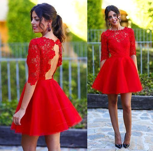 Hot Red Short Party Dresses 2015 Jewel A line Lace Backless Half Sleeve Fall Winter Graduation Special Dress Custom made