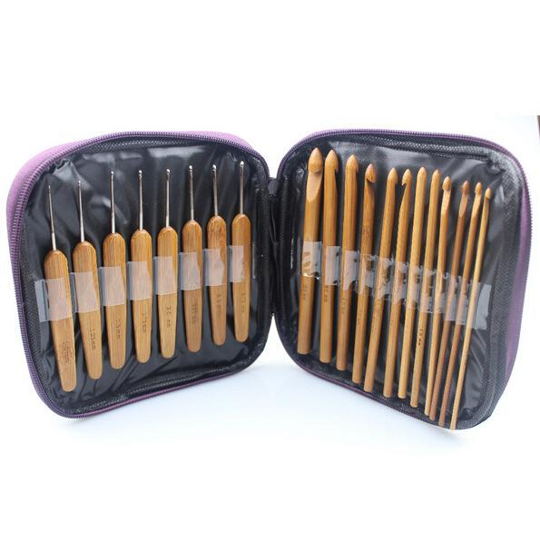 20pcs Bamboo Crochet Hooks Needles Knit Weave Craft Yarn Sewing Tools Knitting Bamboo Crochet Hook Set with Case
