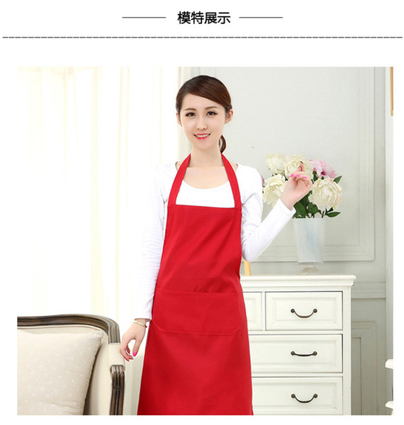 top popular 1 piece 2-pocket women's apron waiter apron barbecue restaurant kitchen cooking aprons working dress 60x70cm TO279 2020