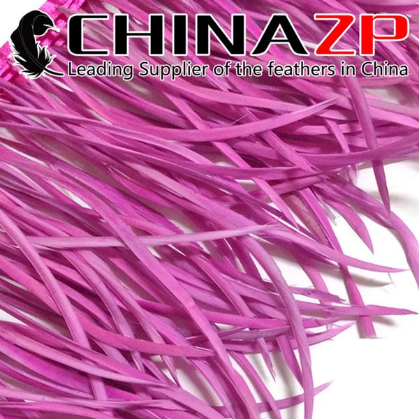 Gold Manufacturer CHINAZP Crafts Factory 10yards/lot 15~20cm(6~8inch) in Width Cheap Wholesale Dyed Rose Pink Goose Biots Feather Trim