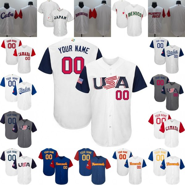 Stitched Custom 2017 World Baseball Classic Jerseys Team USA 2 Alex Bregman Venezuela Canada Japan Dominicana Italy Puerto Rico Personalized
