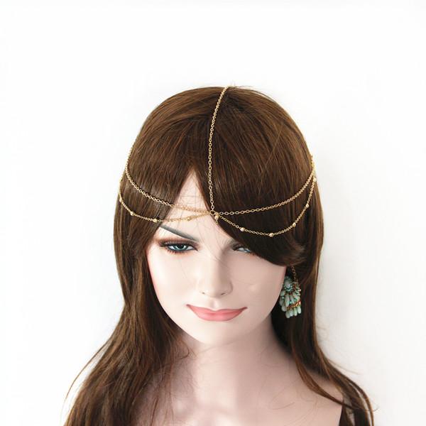 Perle d'oro a strati Hairband Crown Head Accessori per capelli a catena per le donne all'ingrossoCF151