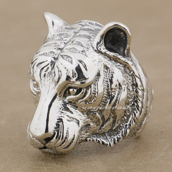 Huge Heavy Tiger 925 Sterling Silver Mens Biker Ring 9M005 US Size 8~14 Free Shipping