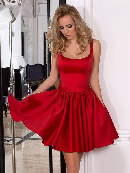 Ruched Satin A Line Short Homecoming Party Dresses With Bow Spaghetti Straps Zipper Back Maid Of Honor Graduation Gowns