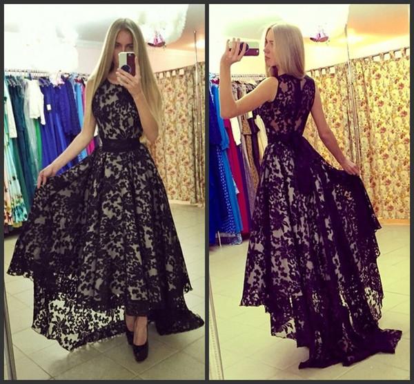 Short Front Long Back Evening Dresses Scoop Neck Elegant Black Lace ...
