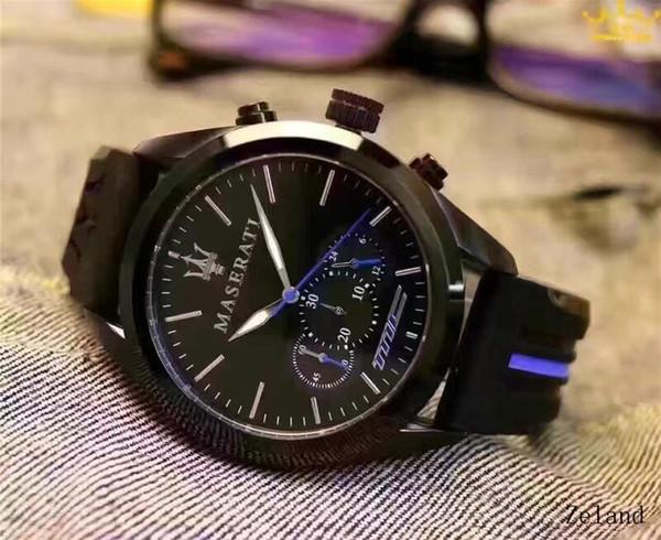 Cadeau Italie Maserati Mode Chronographe Sport Hommes Montres de luxe Quartz Reloj Hombre 2018 Horloge Homme heure relogio Masculino