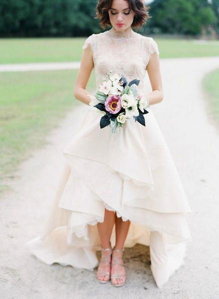 High Low Hem Lace Wedding Dress Top Lace High Neck Cap Sleeves Bridal Wedding Gown Front Short Back Long Garden Wedding Dress