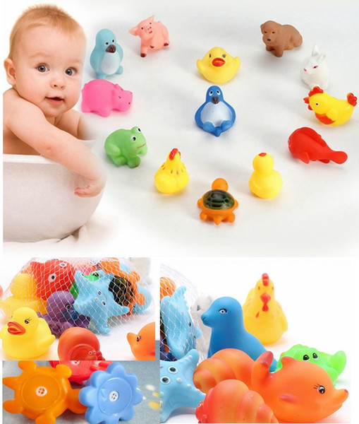 top popular 13style Animal Bath Toys Bath Baby Swiming Gifts Rubber Bathing Washing Sets Children Education Toys Children's Swimming Gear 2020