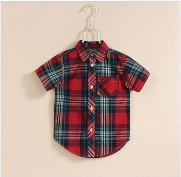 2016 New Summer Boys Gentleman Style Plaid Shirt Children Short Sleeve Turn Down Collar Shirts Kids Clothing Baby 100% Cotton Shirt