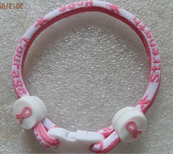 best selling For Christmas cancer 2015 pink ribbon breast ribbon bracelet cancer awareness bracelet Breast cancer awareness bracelet Titanium bracelet