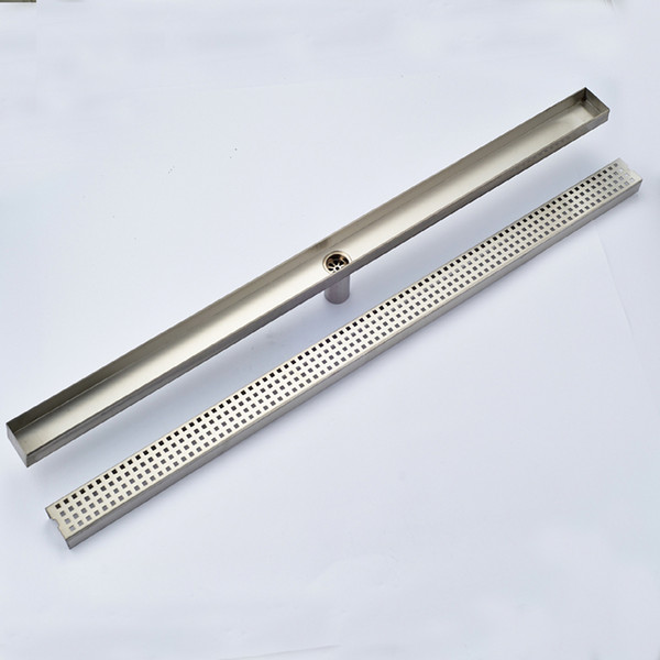 top popular Wholesale And Retail Bathroom Floor Drain Polished Chrome Stainless Steel Floor Drain Long Square Bathroom Drainer Grate Waste 2021