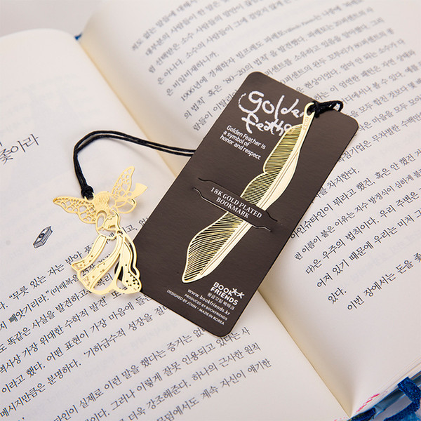 top popular Creative Golden bookmarks with card Metal book mark Elegant Paper Clip markers Feather Angel Stationery Office School Supplies SQ01 2021