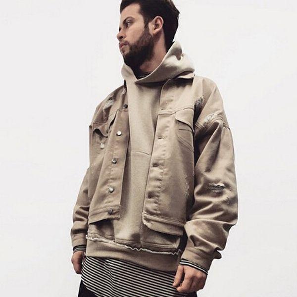 Fear Of God Distressed Denim Jacket Giacca da uomo oversize color kaki nero Cappotto da uomo Hip Hop Biker Giacche Soprabito OSG1006