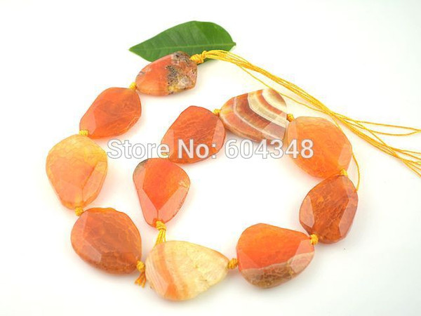 1 Perline in agata druzy con striature di colore arancione - Perle di agata druzy lastra agata pendenti con perline