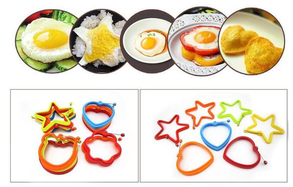 Silicone Egg Pancake Ring Creativo antiaderente Pentagramo Forma di orso Stampo in silicone per la cottura della colazione Padella Forno Cucina