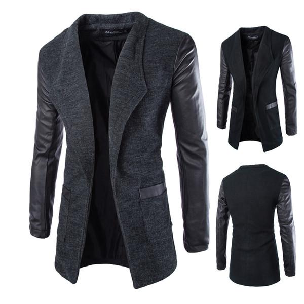 Queda-2016 nova chegada longa trincheira preto homens moda personalidade manga de couro pathwork mens trench coat frete grátis