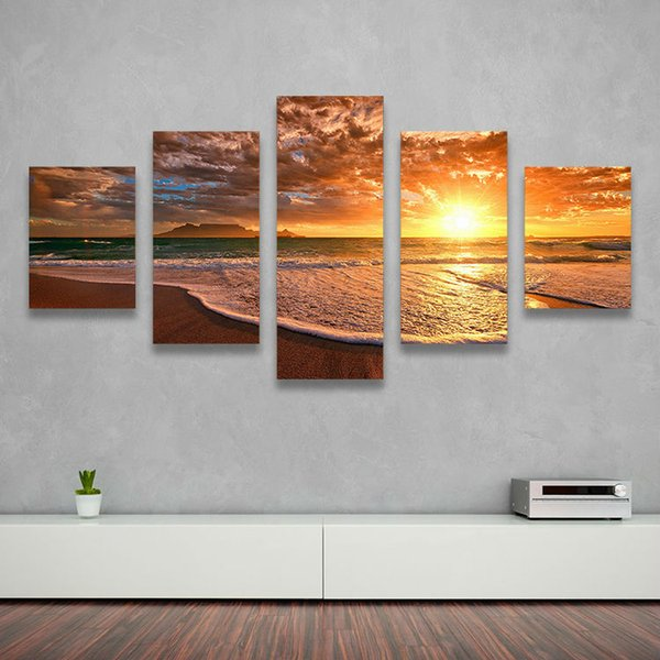 5 PANE SUNSET WAVES OCEAN Hot Sell The Family Decorates Print in The Oil Painting On The Canvas,Wall Art Picture Gift Painting