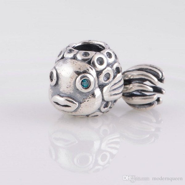 Fish charms beads S925 sterling silver fits for pandora style bracelets free shipping ale181H9