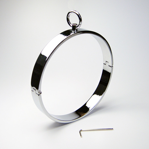 Flat Metal Collars CBT Toys Lockable Neck Ring Necklace Locking Roleplay On Alloy Metal Bondage Adult Neck Ring Sex Toys